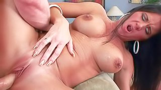 Good looking mature bitch Kendra Secrets with long dark hair and sexy big boobs gets her cunt fucked deep and hard after cock sucking. She squirts with ease after intense pussy drilling