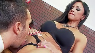 Long legged MILF Jewels Jade in sexy shoes strips down to her black lingerie and spreads her legs in front of Jewelery Store owner Keiran Lee. He etas her pussy before she sucks his hard big dick
