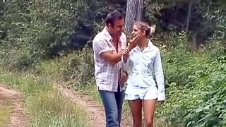 Tempting naive teen brunette Valentina with natural boobs and slim body in short white skirt and childish undies gets seduced by filthy stranger in the woods and takes on his cock